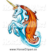 Clip Art of a Rearing White Unicorn with Orange Hair by Vector Tradition SM