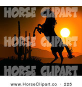 Clip Art of a Rearing Wild Horse in the Desert, Silhouetted Against an Orange Sunset by Dero