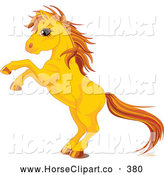 Clip Art of a Rearing Yellow Horse with Golden Hooves and Beautiful Hair by Pushkin