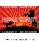 Clip Art of a Red and Gold Sunset Beaming Behind Silhouetted Horses on a Hill by Pushkin