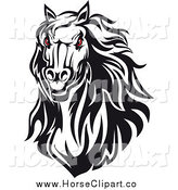 Clip Art of a Red Eyed Horse Head by Vector Tradition SM