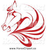 Clip Art of a Red Horse Head and Mane by Vector Tradition SM