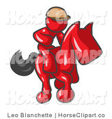Clip Art of a Red Man, a Jockey, Riding on a Matching Race Horse and Racing in a Derby by Leo Blanchette