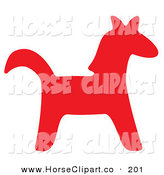 Clip Art of a Red Silhouetted Horse Facing Right by Alex Bannykh