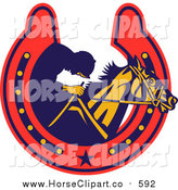 Clip Art of a Retro Jockey and Horse in a Horse Shoe by Patrimonio