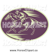Clip Art of a Retro Woodcut Purple and Beige Horse Racing Logo by Patrimonio