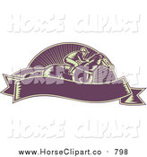 Clip Art of a Retro Woodcut Purple Jockey and Banner by Patrimonio