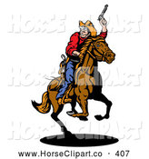 Clip Art of a Rodeo Cowboy Holding up His Pistil and Looking Back While on Horseback by Patrimonio