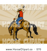 Clip Art of a Rodeo Cowboy Riding a Horse over Brown Mountains and Rays by Patrimonio
