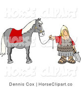 Clip Art of a Roman Army Soldier Standing with a Horse by the Reins by Djart