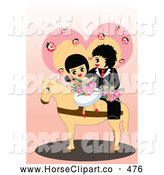 Clip Art of a Romantic Cute Wedding Couple on a Horse by Mayawizard101
