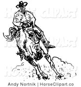Clip Art of a Roper Cowboy on a Horse, Kicking up Clouds of Dust by Andy Nortnik