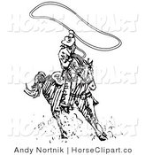 Clip Art of a Roper Cowboy on a Horse, Twirling a Lasso Overhead to Catch a Cow or Horse by Andy Nortnik
