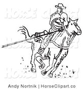 Clip Art of a Roper Cowboy on a Horse, Using a Lasso to Catch a Cow or Horse Outlined in Black by Andy Nortnik