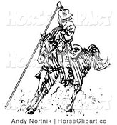 Clip Art of a Roping Cowboy on a Horse, Using a Lasso to Catch a Cow or Horse by Andy Nortnik