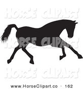 Clip Art of a Running Black Silhouetted Horse to the Right by KJ Pargeter