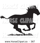 Clip Art of a Running Horse Going Right on Rocks by Xunantunich