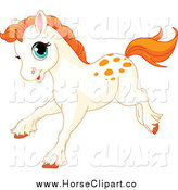 Clip Art of a Running Spotted White Pony with Orange Hair by Pushkin