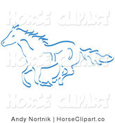 Clip Art of a Running Wild Horse in Blue on White by Andy Nortnik