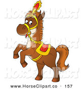 Clip Art of a Saddled Brown Horse Rearing up on Its Hind Legs on White by Alex Bannykh