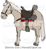 Clip Art of a Saddled Tan Horse by Djart