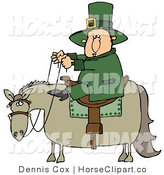 Clip Art of a Saint Patricks Day Leprechaun Man in Green, Riding on a Chubby Horse by Djart