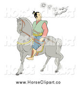 Clip Art of a Samurai Warrior on Horseback, Under a Branch by Patrimonio