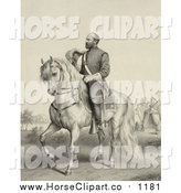 Clip Art of a Sepia Scene of General James Garfield on a Horse by JVPD