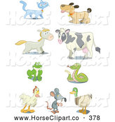 July 12nd, 2013: Clip Art of a Set of Nine Cat, Dog, Horse, Cow, Frog, Snake, Rooster, Mouse and Mallard Icons by Frisko