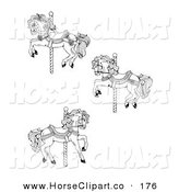 Clip Art of a Set of Three Carousel Horses on a White Background by C Charley-Franzwa