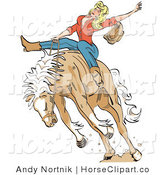 Clip Art of a Sexy Blonde Cowgirl Riding a Bucking Bronco Horse in a Rodeo by Andy Nortnik