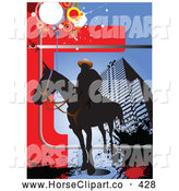 Clip Art of a Shadowed Silhouetted Man on a Horse over an Urban Background by Leonid