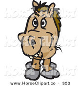 June 11th, 2013: Clip Art of a Shaggy Wild Horse Facing Toward the Viewer, on White by Dennis Holmes Designs