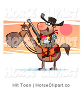 Clip Art of a Sheriff Horse and Cowboy by Hit Toon