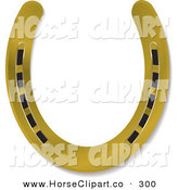 Clip Art of a Shiny New Gold Horseshoe over White by Michaeltravers