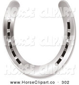 Clip Art of a Shiny New Silver Horseshoe on a White Background by Michaeltravers