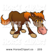Clip Art of a Shy Brown Horse with Orange Hair Looking at the Ground by Dero