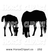 Clip Art of a Silhouette of a Foal and Horse Grazing on White by Dero