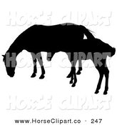 Clip Art of a Silhouette of a Foal Beside Its Mother on White by Dero