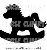 Clip Art of a Silhouetted Black Children's Wooden Rocking Horse Toy by Pams Clipart