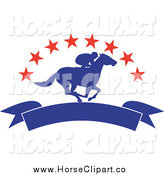 Clip Art of a Silhouetted Blue Jockey with a Banner Under Red Stars by Patrimonio