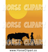 Clip Art of a Silhouetted Country Girl Leading Her Horse Against an Orange Sunset by Maria Bell