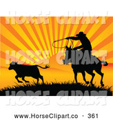 Clip Art of a Silhouetted Cowboy Roping a Calf at Sunset with Orange and Yellow Striped Rays of Sunshine by Pushkin