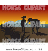 December 5th, 2012: Clip Art of a Silhouetted Cowboy Walking Next to His Horse near Mountains at Sunset by David Rey
