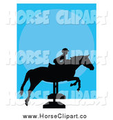 Clip Art of a Silhouetted Equestrian Child on a Hurdle Jumping Horse by Maria Bell