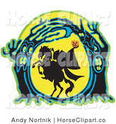 Clip Art of a Silhouetted Headless Horseman Holding His Pumpkin Head up High As His Horse Rears up in a Haunted Forest of Evil Trees by Andy Nortnik