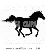 Clip Art of a Silhouetted Horse Galloping to the Right by Dero