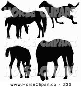Clip Art of a Silhouetted Horses and Foals Running, Standing and Grazing on White by Dero