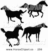 Clip Art of a Silhouetted Horses Running and Trotting on White by Dero