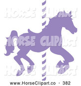 Clip Art of a Silhouetted Purple Carousel Horse on a Pole on White by Pams Clipart